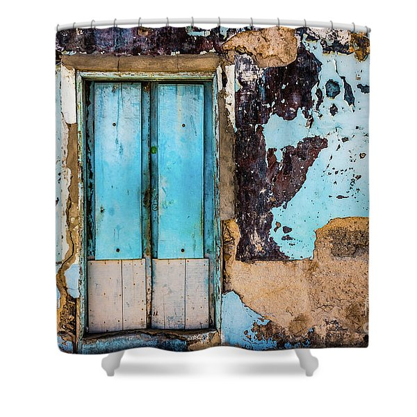Blue Wall And Door Shower Curtain