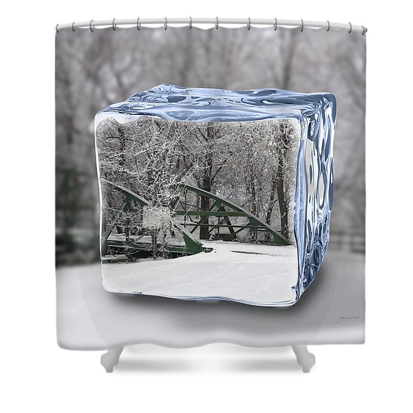 Blue Water Ice Cube Shower Curtain