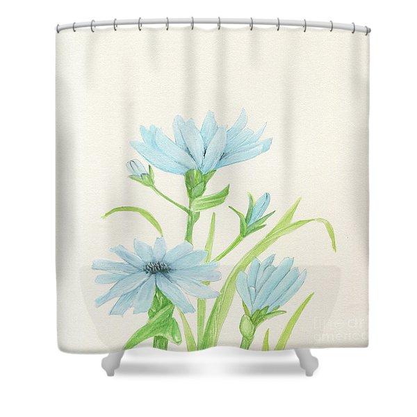 Blue Wildflowers Watercolor Shower Curtain