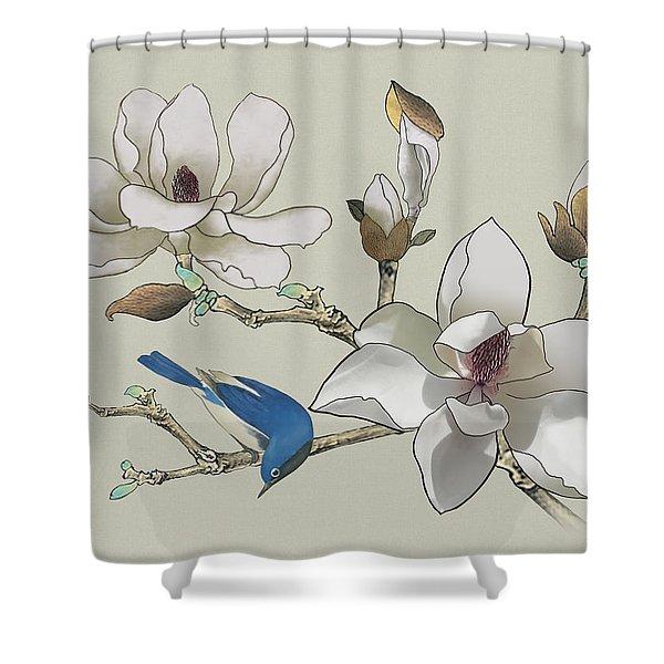 Bluebird And Magnolia Shower Curtain