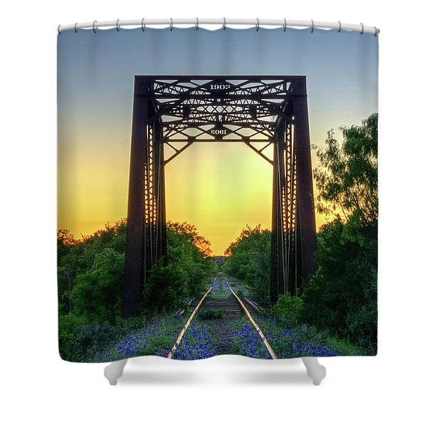 Bluebonnets On The Abandoned Railroad Shower Curtain
