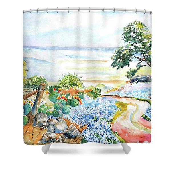 Bluebonnets - Texas Hill Country In Spring Shower Curtain