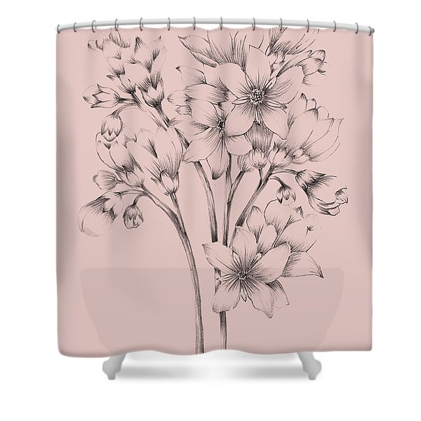 Blush Pink Flower Drawing Shower Curtain