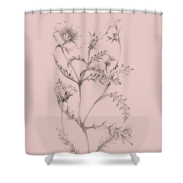 Blush Pink Flower Illustration I Shower Curtain