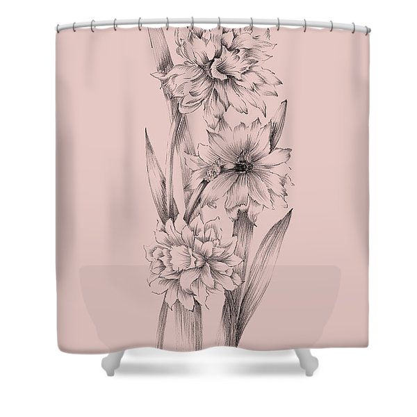 Blush Pink Flower Sketch 3 Shower Curtain