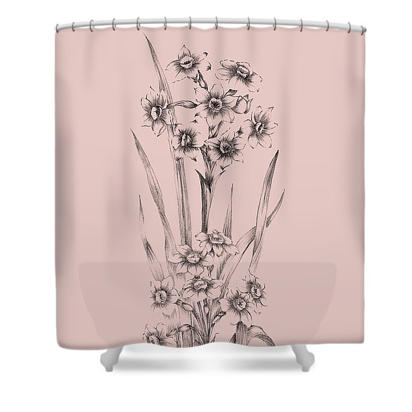 Blush Pink Flower Sketch I Shower Curtain