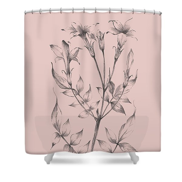 Blush Pink Flower Sketch II Shower Curtain