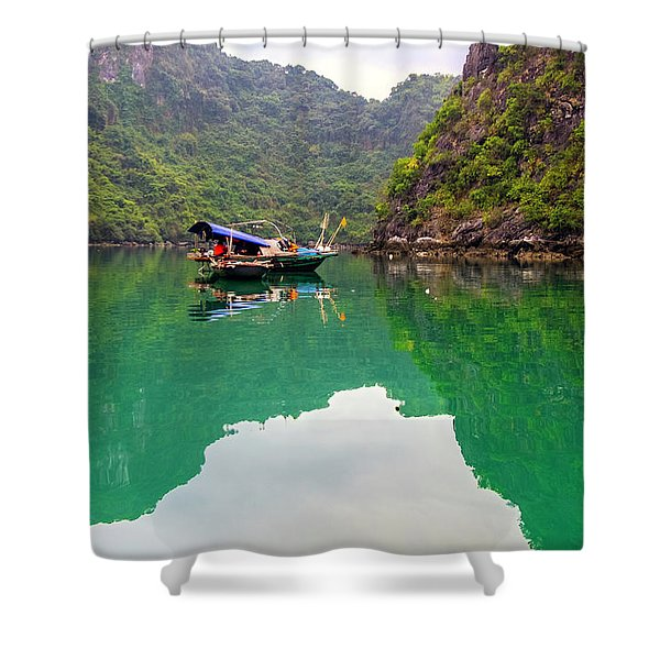 Boat On Halong Bay 2, Vietnam Shower Curtain