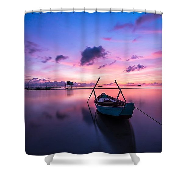 Boat Under The Sunset Shower Curtain
