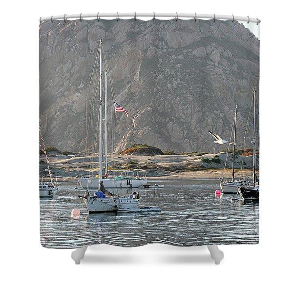 Boats In Morro Bay Shower Curtain