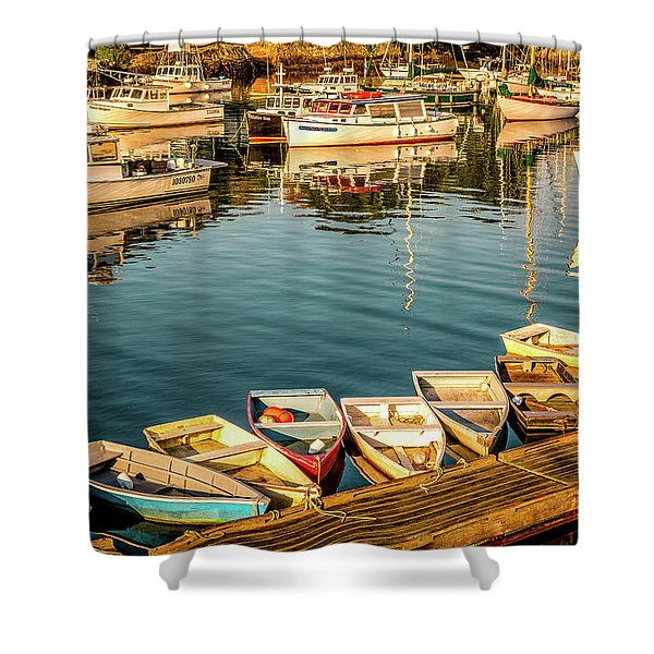 Shower Curtain featuring the photograph Boats In The Cove. Perkins Cove, Maine by Jeff Sinon