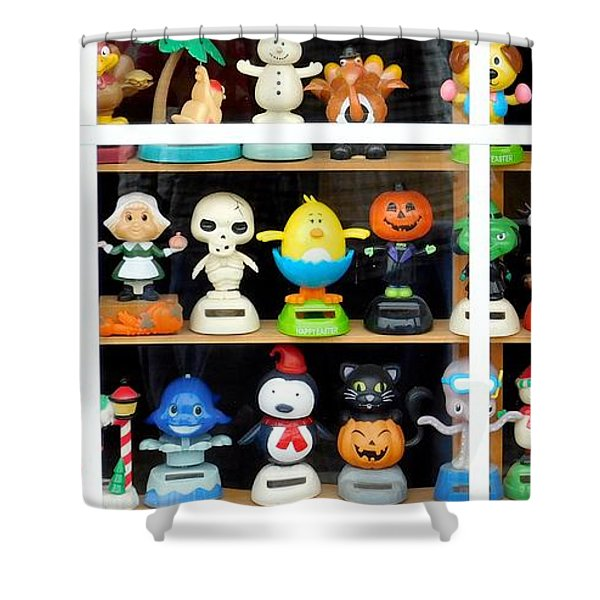 Bobbleheads In Store Window In Schroon Lake Ny In Adirondacks Shower Curtain