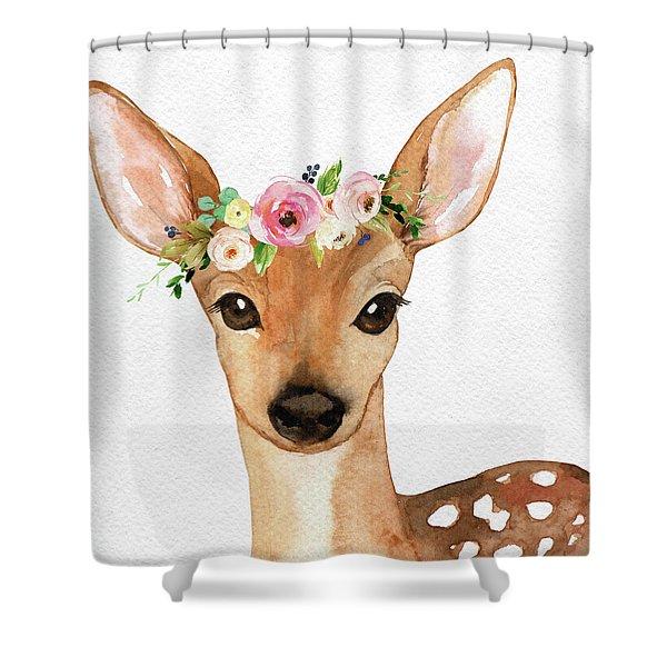 Boho Deer Watercolor Floral Woodland Shower Curtain