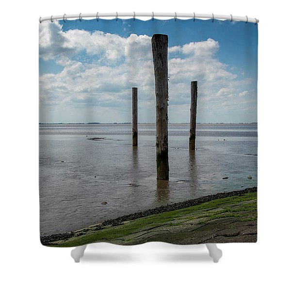 Shower Curtain featuring the photograph Bohrinsel Viewing Platform by Anjo Ten Kate