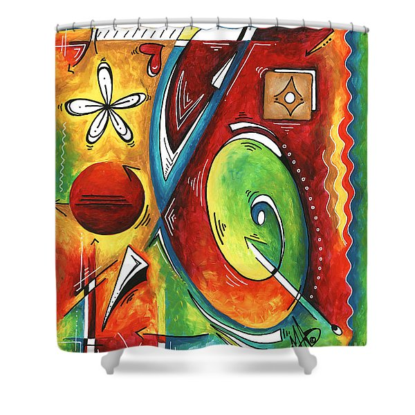 Bold Abstract Symbolic Inspirational Original Painting Follow Your Path By Madart Shower Curtain