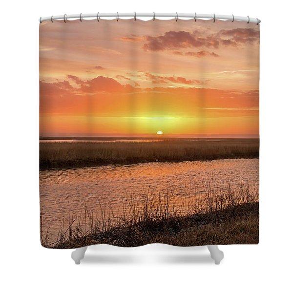 Bombay Hook Sunrise Shower Curtain