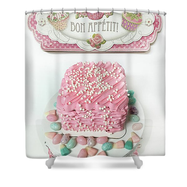 Bon Appetit Pink Cake - Parisian Pink Cake Bakery - Shabby Chic Pink Cake Art Decor Shower Curtain