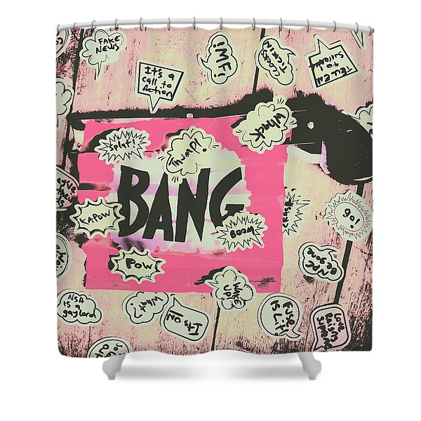 Boom Crash Bang Shower Curtain