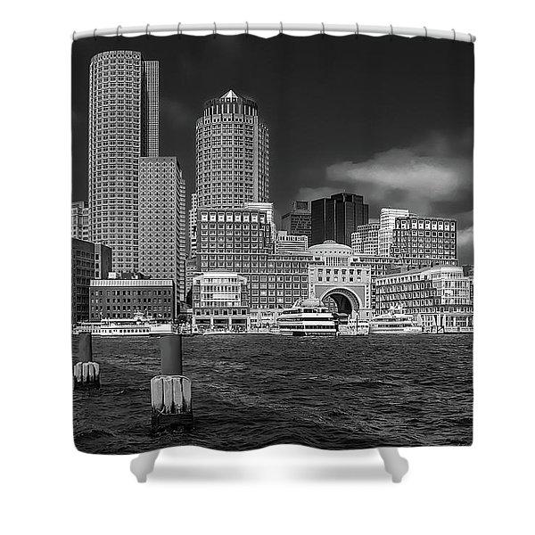 Boston Harbor Skyline Shower Curtain