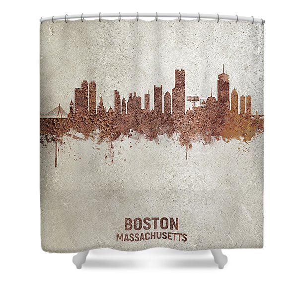 Boston Massachusetts Rust Skyline Shower Curtain