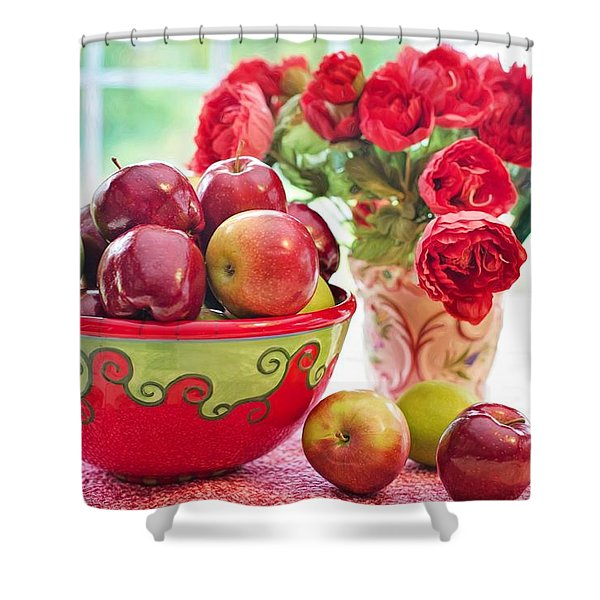 Bowl Of Red Apples Shower Curtain