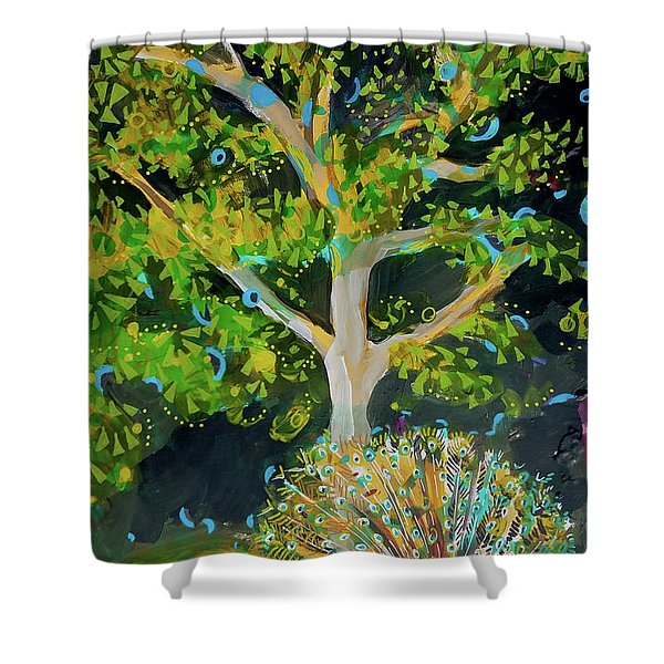 Branching Out Peacock Shower Curtain