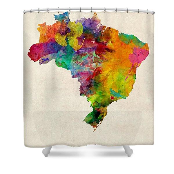 Brazil Watercolor Map Custom Heart Shower Curtain
