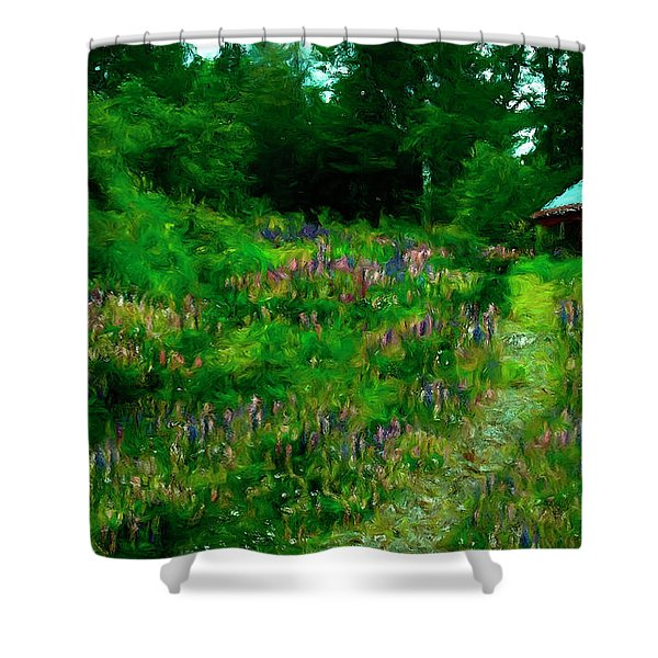 Shower Curtain featuring the photograph Breeze On The Lupine Field by Wayne King