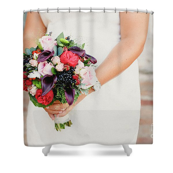 Bridal Bouquet Held By Her With Her Hands At Her Wedding Shower Curtain