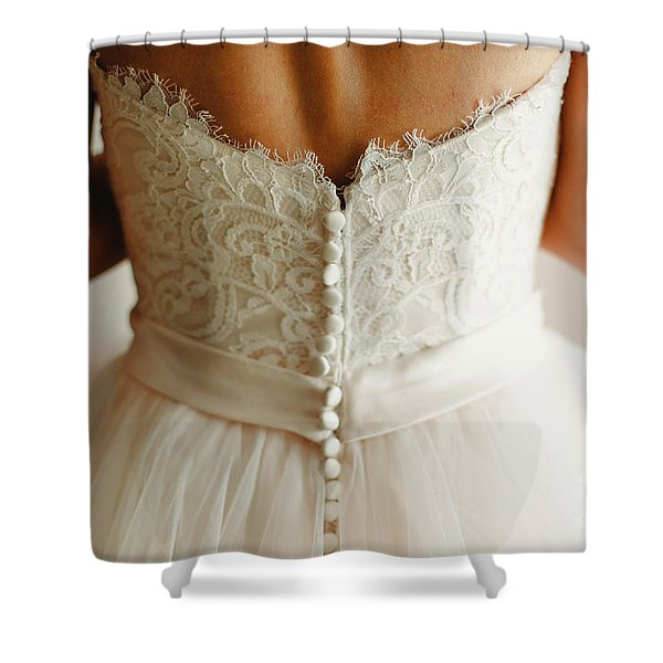 Bride Getting Ready, They Help Her By Buttoning The Buttons On The Back Of Her Dress. Shower Curtain