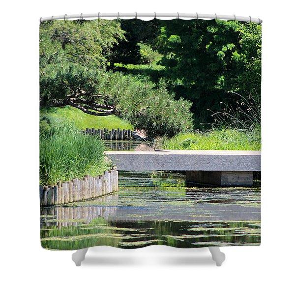 Bridge Over Pond In Japanese Garden Shower Curtain