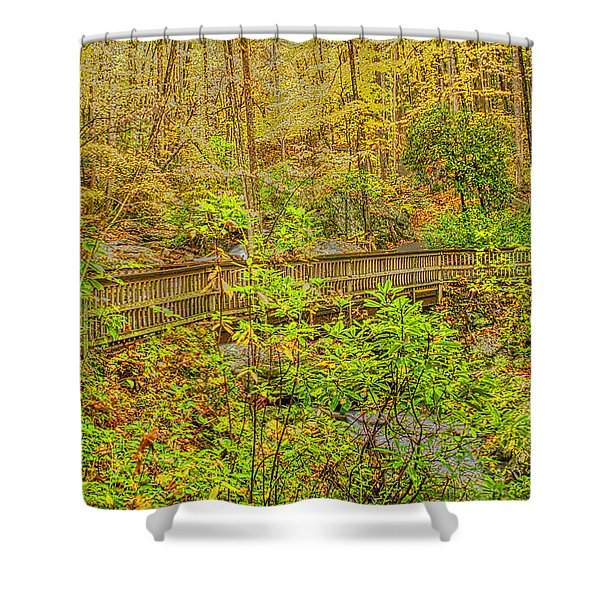Shower Curtain featuring the photograph Bridge Over Stream by Meta Gatschenberger