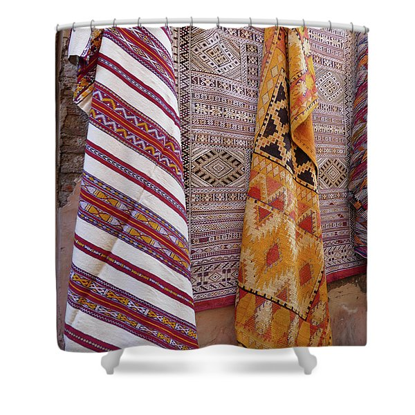 Bright Colored Patterns On Throw Rugs In The Medina Bazaar  Shower Curtain