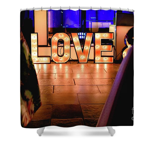 Bright Wooden Letters With Word Love In A Party Shower Curtain