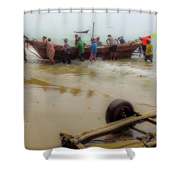 Bringing In The Catch Shower Curtain