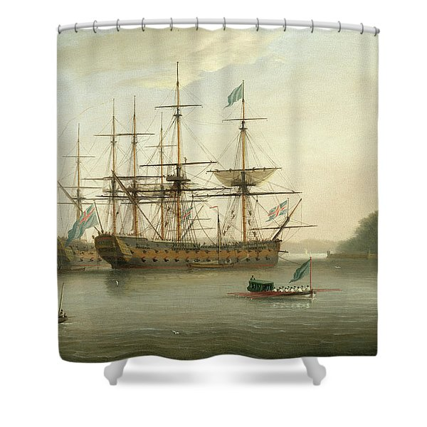 British Naval Ships Moored Off Mount Edgcumbe, Plymouth Shower Curtain