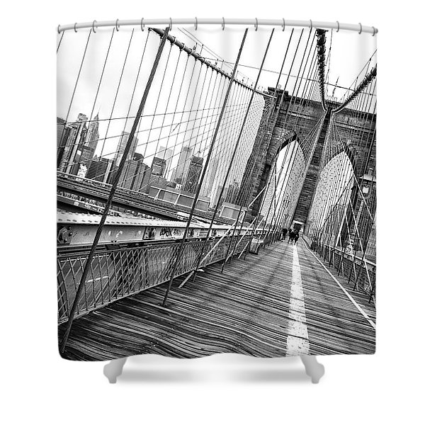 Brooklyn Bridge Walkway Shower Curtain