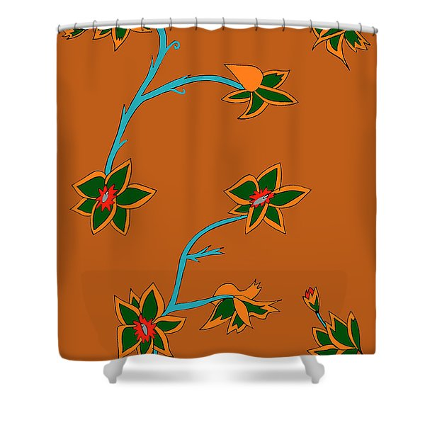 Brown Background Flowers Shower Curtain