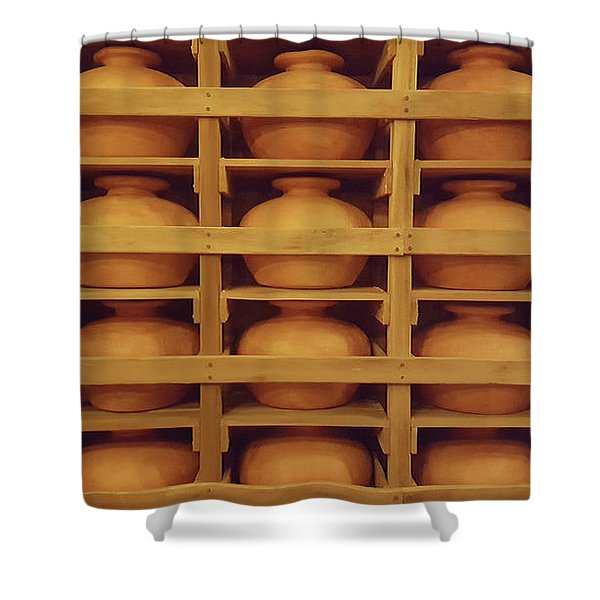 Brown Clay Pots Shower Curtain