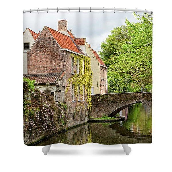 Bruges Footbridge Over Canal Shower Curtain