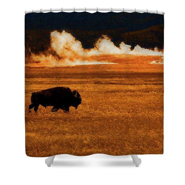 Buffalo Fire Sunset Shower Curtain