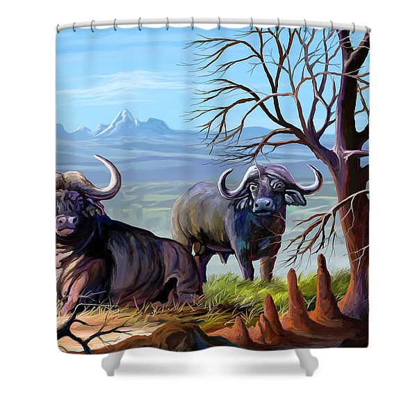 Buffaloes And The Mountain Shower Curtain