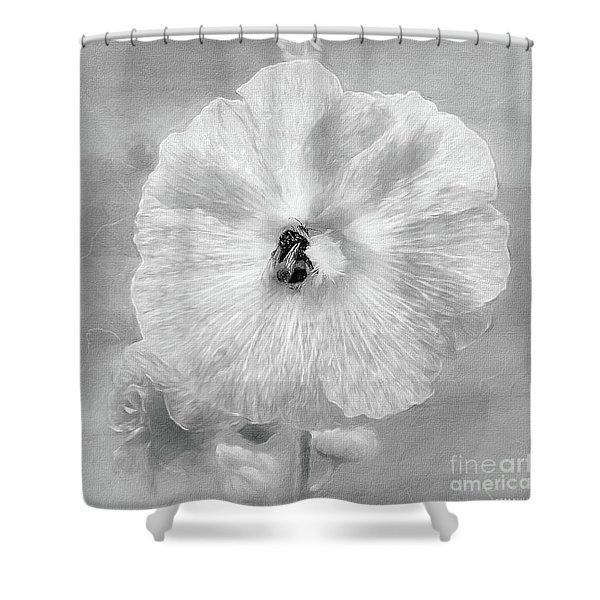 Bumblebee Snacking Delicate Hollyhock Bw Shower Curtain