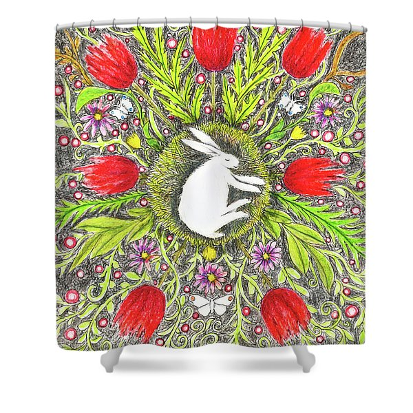 Bunny Nest With Red Flowers And White Butterflies Shower Curtain