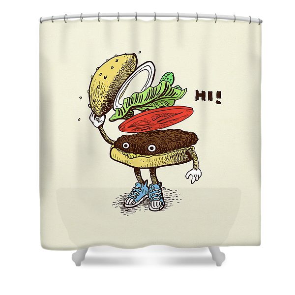 Burger Greeting Shower Curtain