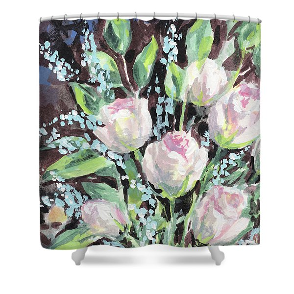 Burst Of Roses Flowers Bouquet Floral Impressionism  Shower Curtain