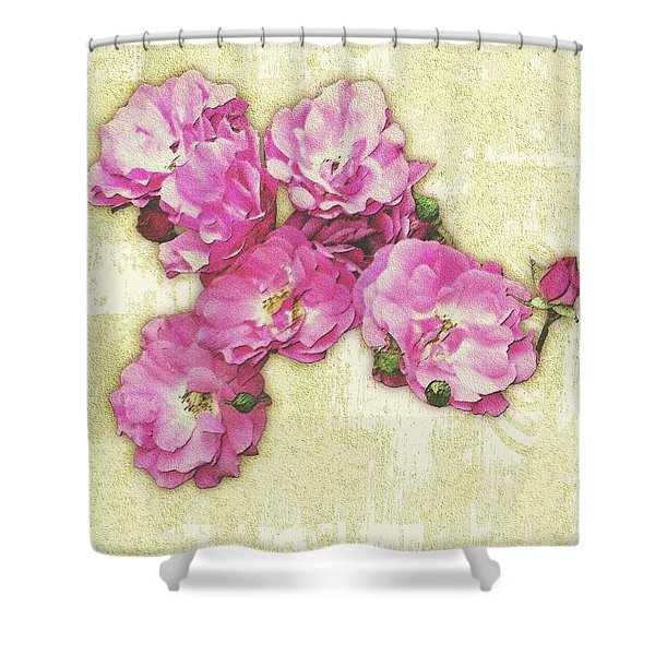 Bush Roses Painted On Sandstone Shower Curtain