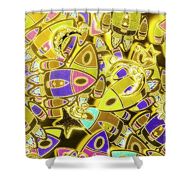 Busy Space Shower Curtain