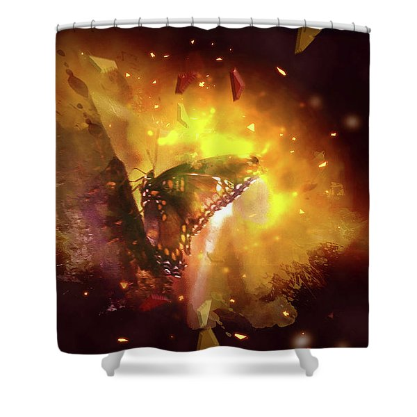 Butterfly Color Explosion. Shower Curtain