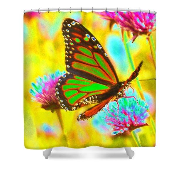 Butterfly Green  Shower Curtain